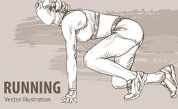 Σκίτσο χεριών ενός δρομέα γυναικών έτοιμου να αρχίσει Διανυσματική αθλητική απεικόνιση Γραφική σκιαγραφία του αθλητή στο υπόβαθρο απεικόνιση αποθεμάτων