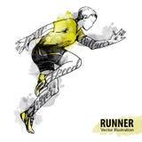 Σκίτσο χεριών ενός τρέχοντας ατόμου Διανυσματική αθλητική απεικόνιση Στοκ φωτογραφίες με δικαίωμα ελεύθερης χρήσης