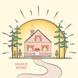 Σκίτσο Doodle με το σπίτι στην αυγή με τα δέντρα συρμένο χέρι απεικόνιση αποθεμάτων