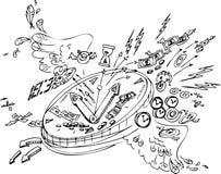 Σκίτσο doodles: Ο χρόνος πετά Στοκ φωτογραφία με δικαίωμα ελεύθερης χρήσης