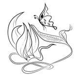 Σκίτσο Fower και πεταλούδων Στοκ Εικόνες