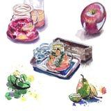 Σκίτσο Watercolor σε έναν καφέ με το τσάι και τα φρούτα μούρων στοκ εικόνες