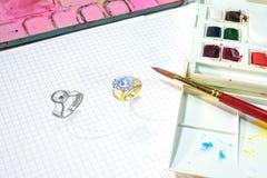 Σκίτσο watercolor σχεδίου κοσμήματος στη Λευκή Βίβλο στοκ φωτογραφία με δικαίωμα ελεύθερης χρήσης