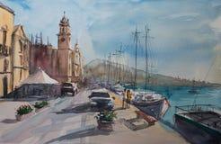 Σκίτσο Watercolor της πόλης Valette διανυσματική απεικόνιση