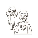 Σκίτσων περιγράμματος καρικατουρών μισός ήρωας μπαμπάδων σωμάτων έξοχος με το κορίτσι σε ετοιμότητα του ελεύθερη απεικόνιση δικαιώματος