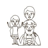 Σκίτσων περιγράμματος μισός ήρωας μπαμπάδων σωμάτων έξοχος με το κορίτσι σε ετοιμότητα του και το αγόρι στην πλάτη του ελεύθερη απεικόνιση δικαιώματος
