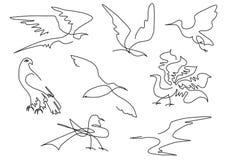 Σκίτσων πουλιών σκιαγραφιών χέρι που σύρεται καθορισμένο στοκ φωτογραφία με δικαίωμα ελεύθερης χρήσης