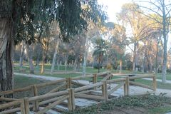 Σκαλοπάτια με το ξύλινο κιγκλίδωμα στοκ εικόνα