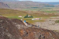 Σκαλοπάτι προς τον κρατήρα του βουνού Grabrok στην Ισλανδία Στοκ εικόνες με δικαίωμα ελεύθερης χρήσης