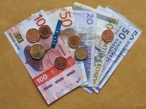 Σκανδιναβικά χαρτονομίσματα και νομίσματα Στοκ Φωτογραφίες