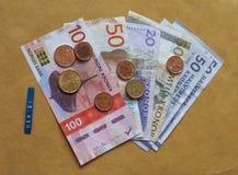 Σκανδιναβικά χαρτονομίσματα και νομίσματα Στοκ εικόνες με δικαίωμα ελεύθερης χρήσης