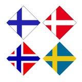 Σκανδιναβικές σημαίες χωρών - φιλανδικά, δανικά Νορβηγικές και σουηδικές σημαίες ελεύθερη απεικόνιση δικαιώματος