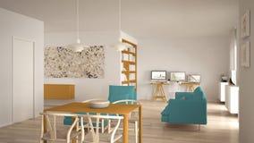Σκανδιναβικός μινιμαλιστικός ανοιχτός χώρος καθιστικών με να δειπνήσει τον πίνακα, καναπές, γραφείο γωνιών, εγχώριος εργασιακός χ στοκ φωτογραφία με δικαίωμα ελεύθερης χρήσης