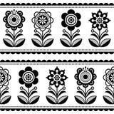 Σκανδιναβικό άνευ ραφής λαϊκό διανυσματικό σχέδιο τέχνης με τα λουλούδια και τις καρδιές, σκανδιναβικό σχέδιο διακοσμήσεων - γραπ ελεύθερη απεικόνιση δικαιώματος