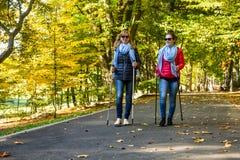 Σκανδιναβικό περπάτημα - άνθρωποι που επιλύουν στο πάρκο Στοκ Εικόνες