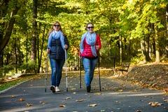 Σκανδιναβικό περπάτημα - ενεργοί άνθρωποι που επιλύουν στο πάρκο στοκ φωτογραφία