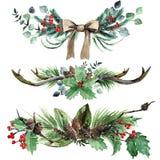 Σκανδιναβικό σύνολο σύνθεσης Χριστουγέννων Watercolor διανυσματική απεικόνιση