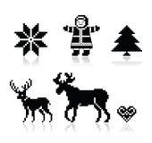 Σκανδιναβικά εικονίδια σχεδίων Χριστουγέννων καθορισμένα Στοκ Εικόνες