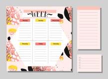 Σκανδιναβικό εβδομαδιαίο και καθημερινό πρότυπο αρμόδιων για το σχεδιασμό Διοργανωτής και σχέδιο με τις σημειώσεις και για να κάν Στοκ Φωτογραφίες