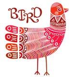 Σκανδιναβικό περίκομψο πουλί ύφους boho Διανυσματική απεικόνιση