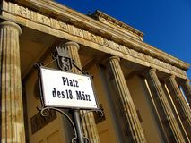 Σκαπάνη Brandenburger (πύλη του Βραδεμβούργου) στο Βερολίνο Στοκ Φωτογραφίες