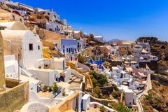 Σκαλοπάτια και πεζούλια Santorini Στοκ Φωτογραφίες