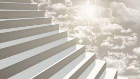Σκαλοπάτια κινηματογραφήσεων σε πρώτο πλάνο που πηγαίνουν επάνω στον ουρανό στη διαγώνια προοπτική Στοκ εικόνα με δικαίωμα ελεύθερης χρήσης