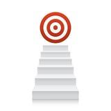 Σκαλοπάτια το κόκκινο εικονίδιο στόχων που απομονώνεται με στο λευκό απεικόνιση αποθεμάτων