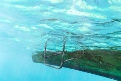 Σκαλοπάτι σιδήρου από τη βάρκα στη θάλασσα για την κολύμβηση με αναπνευστήρα Στοκ Εικόνα