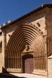 Σκεπαστή είσοδος πρόσοψης της εκκλησίας του San Juan σε Aranda de Duero, Burgos επαρχία, Στοκ φωτογραφία με δικαίωμα ελεύθερης χρήσης