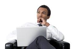 Σκεπτικός επιχειρηματίας αφροαμερικάνων, που απομονώνεται Στοκ εικόνες με δικαίωμα ελεύθερης χρήσης