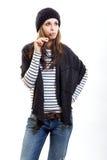 σκεπτόμενη γυναίκα ΚΑΠ Στοκ Φωτογραφίες