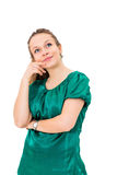 Σκεπτόμενη γυναίκα που ανατρέχει Στοκ εικόνα με δικαίωμα ελεύθερης χρήσης