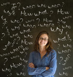 Σκεπτόμενη επιχειρησιακή γυναίκα με τις ερωτήσεις κιμωλίας Στοκ Εικόνες