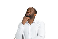 Σκεπτόμενος επιχειρηματίας στο άσπρο υπόβαθρο στοκ φωτογραφία