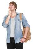 Σκεπτόμενος νέος άνδρας σπουδαστής Στοκ φωτογραφίες με δικαίωμα ελεύθερης χρήσης