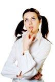 Σκεπτόμενο κορίτσι στο λευκό Στοκ Εικόνες