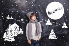 Σκεφτείτε για τη νύχτα Χριστουγέννων Στοκ φωτογραφίες με δικαίωμα ελεύθερης χρήσης