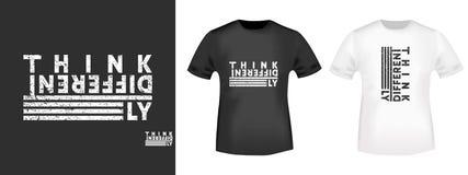 Σκεφτείτε διαφορετικά την τυπωμένη ύλη μπλουζών για τις μπλούζες applique, το σύνθημα μόδας, το διακριτικό, τον ιματισμό ετικετών διανυσματική απεικόνιση