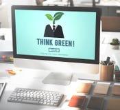 Σκεφτείτε την πράσινη έννοια συντήρησης οικολογίας περιβαλλοντική Στοκ Εικόνα