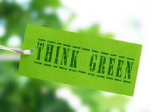 Σκεφτείτε την πράσινη ετικέττα Στοκ Εικόνες