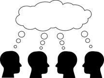 Σκεφτείτε - τοποθετήστε σε δεξαμενή, σκέψη διάφορων κεφαλιών διάνυσμα Στοκ Εικόνες