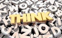 Σκεφτείτε ότι φανταστείτε τις επιστολές Word καταιγισμού ιδεών ελεύθερη απεικόνιση δικαιώματος