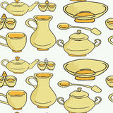 Σκεύος για την κουζίνα και μαγειρεύοντας εργαλεία ζωηρόχρωμα και διασκέδαση doodle άνευ ραφής Στοκ εικόνα με δικαίωμα ελεύθερης χρήσης