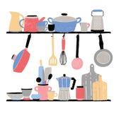 Σκεύος για την κουζίνα στο ράφι Συρμένη χέρι διανυσματική απεικόνιση στο άσπρο υπόβαθρο διανυσματική απεικόνιση