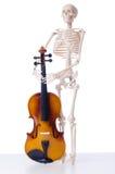 Σκελετός με το βιολί στο λευκό Στοκ φωτογραφία με δικαίωμα ελεύθερης χρήσης