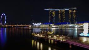 Σκηνές νύχτας merlion κόλπων μαρινών στοκ φωτογραφίες