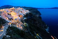 Σκηνές νύχτας Santorini Στοκ φωτογραφίες με δικαίωμα ελεύθερης χρήσης