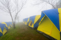 Σκηνές στρατοπέδευσης στην ομίχλη στο βουνό Στοκ Φωτογραφίες