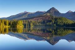 Σκηνή βουνών φύσης με την όμορφη λίμνη στη Σλοβακία Tatra - ST Στοκ Εικόνες